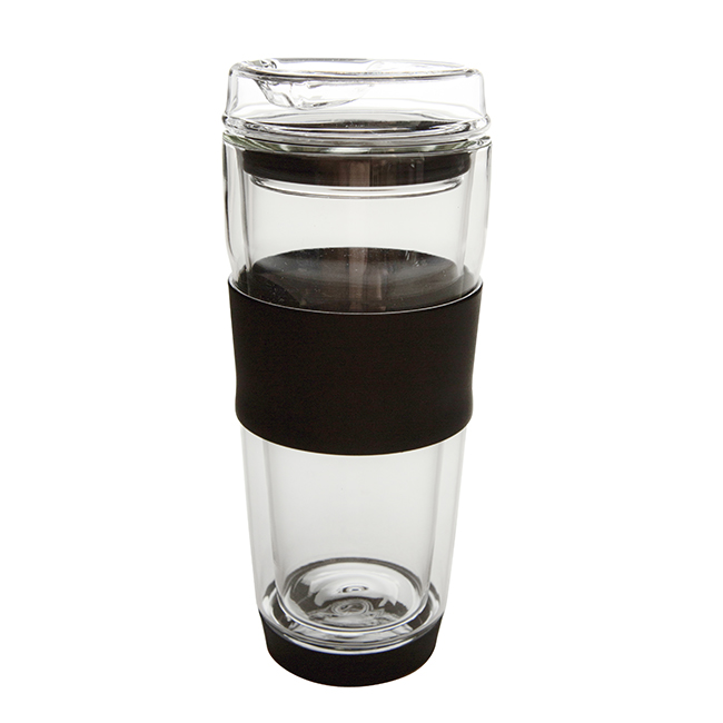 Double Wall Insulation Glass Coffee Mug with Silicone 550ml, GD0109BL